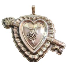 Vintage Sterling Reed and Barton Large Heart and Key Pendant -Ornament