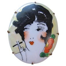 Vintage Art Deco Hand Painted on Porcelain Smoking Flapper Girl Brooch Pin