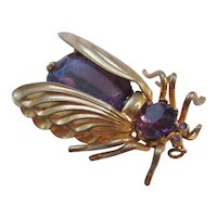 Vintage Brass and Purple Glass Flying Fly-Bug Pin Brooch