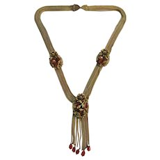 Vintage Victorian Brass and Carnelian Rose Festoon Tassel Necklace