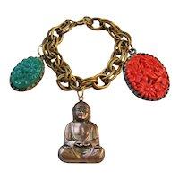 Vintage Brass Buddha and Press Molded Floral Glass Charm Bracelet