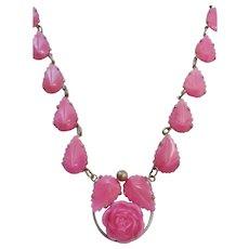 Vintage Art Deco Pink Press Molded Carved Glass Rose and Leaf Necklace