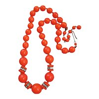 Vintage Made in Germany Bright Orange and Rhinestone Necklace