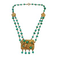Vintage Czech Jade Colored Glass and Brass Necklace