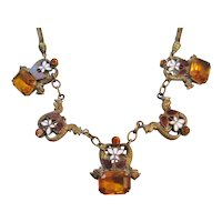 Vintage Czech Brass Enamel- Amber Glass Necklace with Dragon-Serpent Detail