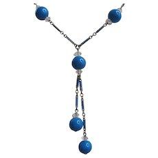 Vintage Art Deco Blue Glass Bead and Enamel Necklace
