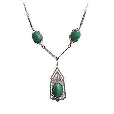 Vintage Art Deco- Edwardian Era Silver tone and Green Speckled Glass Czech Necklace
