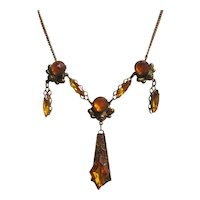"""Art Deco Era Brass and Amber Glass """"Y"""" Necklace"""