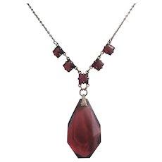 Vintage Art Deco Purple Faceted Glass Drop Necklace