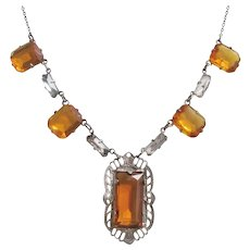 Vintage Art Deco Silver tone and Amber Glass Necklace