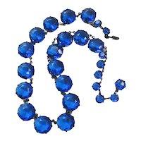 Vintage Faceted Cobalt Blue Glass Riviere Necklace