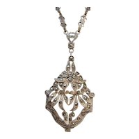 Vintage Sterling Silver and Marcasite Flower Pendant Necklace