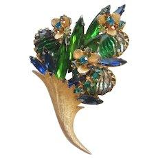 Vintage Art Glass and Rhinestone Flower Brooch- Pin