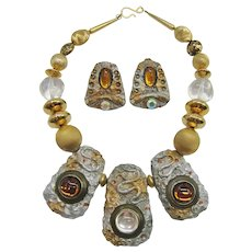 Vintage 1980's Polymer Clay Worm Necklace Set Signed Rubinstein 2