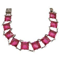 Vintage Art Deco Fuchsia Pink Open Back Glass Bracelet