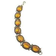 Vintage Late Art Deco Oval Glass and Brass Bracelet