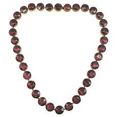 Vintage Art Deco Signed Czecho Purple Open Back Riviere Choker Necklace