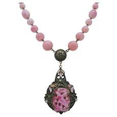 Vintage Signed Czech Art Deco Pink Molded Art Glass Pendant Necklace