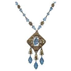 Vintage Art Deco Gold Tone Filagree and Open Back Light Blue Glass Pendant Necklace