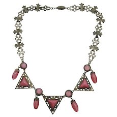 Vintage Art Deco Silver Plate Czech Pink Satin and Star Glass Necklace