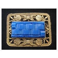 Czech Brass Floral and Lapis Colored Glass Pin