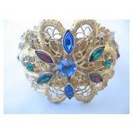 Beautiful Czechoslovakian Goldtone Lace and Multi Color Stone Bracelet