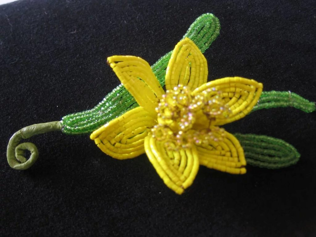 Vintage Large Beaded Yellow Daffodil Brooch Pin Vintage Jewelry
