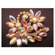 Vintage Large Pink-Yellow Aurora Rhinestone Pin-Brooch