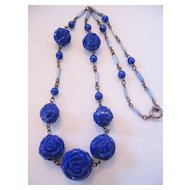 Vintage Art Deco Cobalt Blue Glass Rose Necklace