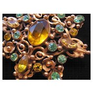 Vintage Czech Brass-Glass Star Pin-Brooch-Amber-Sea Green-Yellow