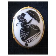Vintage Silhouette Girl with Umbrella Pin-Brooch