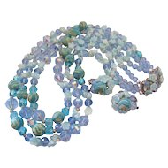 Vendome Blue Molded Glass Flower-Bead and Art Bead Bib  Necklace and Earrings Set