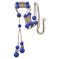 Art Deco  Cobalt Prosser Bead and Brass Sautoir Necklace