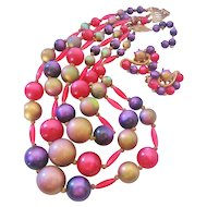 Vintage Mid Century Multi Colored Bib Necklace and Earrings Set