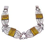 Vintage Deco Yellow Glass Panel Bracelet