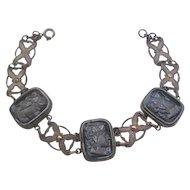 Vintage Black Glass Intaglio Bracelet