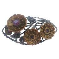 Vintage Brass/Silver tone Rhinestone Floral Pin-Brooch