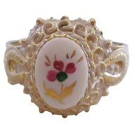 Vintage Goldtone Whitewashed Painted Enamel Cuff Bracelet