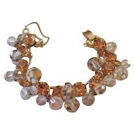 Juliana Clear and Cognac Colored Rhinestone and Crystal Bracelet