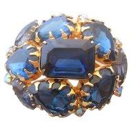 Vintage Royal Blue Domed Rhinestone Pin-Brooch