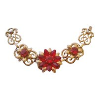 Vintage Coro Red Floral and Gold tone Scroll Bracelet