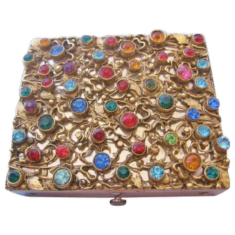 Vintage Mid Century Rhinestone Studded Dorset of Fifth Ave Compact