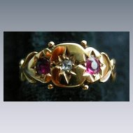 A 15ct Gold Gypsy Set Ruby Ring, Circa 1890.