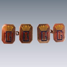 An Antique Pair of Royal Souvenir Enamelled  9 ct Gold Cufflinks. Circa 1914.