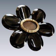 A Georgian Black Glass Flower Head Mourning Brooch. Circa 1825.