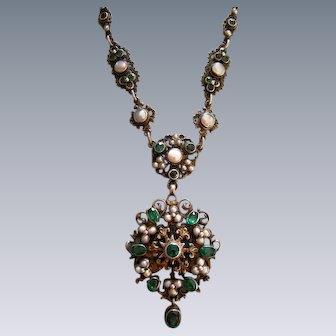 An Austro-Hungarian Silver and Enamel Pendant Necklace. Circa 1890.