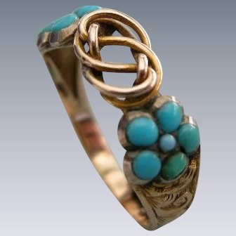 An Early Victorian 15ct Gold and Turquoise Amatory Ring. Circa 1845.