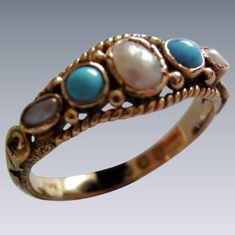 A Victorian 18 ct Gold, Turquoise and Seed Pearl Ring. Circa 1873