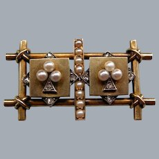 A Victorian 15 ct Gold, Seed Pearl and Diamond Novelty brooch. Circa 1890