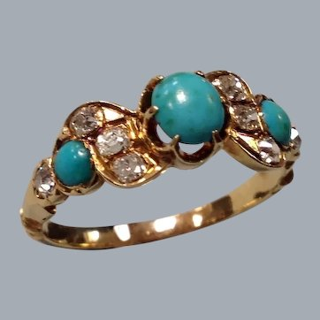 A Victorian 18 ct Gold, Turquoise and Diamond  Ring. Circa 1890